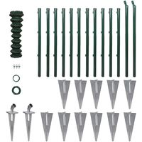Chain-Link Fence Set with Posts Spike Anchors 1 x 25 m
