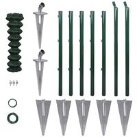 Chain-Link Fence Set with Posts Spike Anchors 1,25 x 15 m