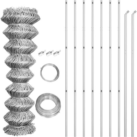 Chain Link Fence with Posts Galvanised Steel 15x1.5 m Silver