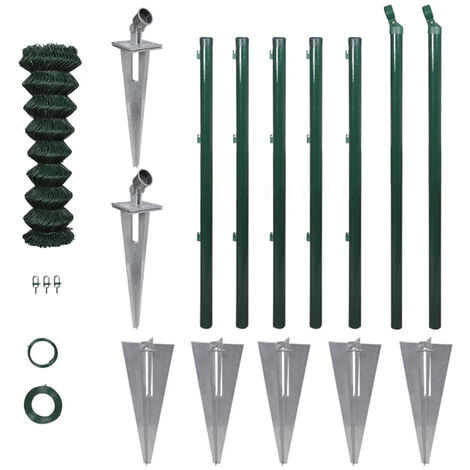 Chain Link Fence with Posts Spike Galvanised Steel 1.0x15 m