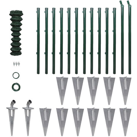 Chain Link Fence with Posts Spike Galvanised Steel 1.0x25 m