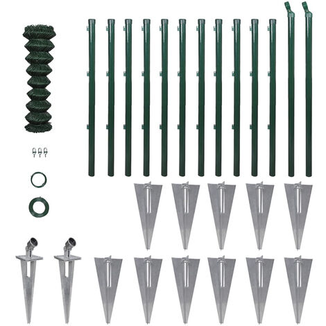 Chain Link Fence with Posts Spike Galvanised Steel 1.5x25 m