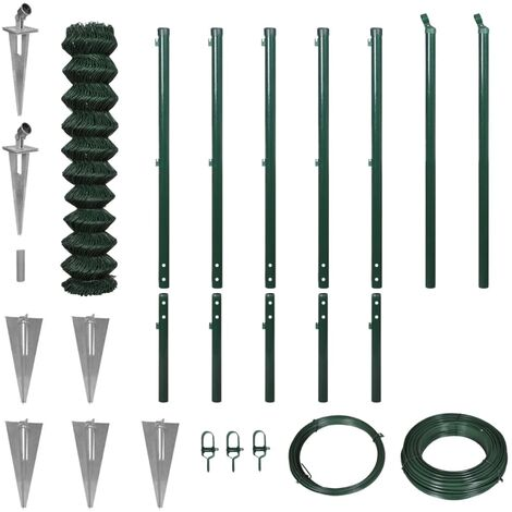 Chain Link Fence with Spike Anchors 1.97x15 m Green