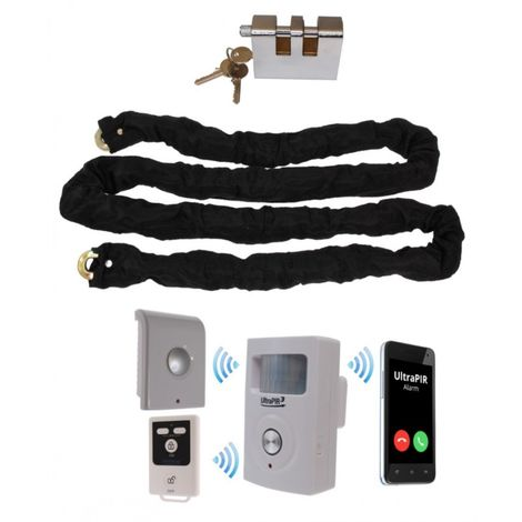 Chain & Lock with Battery Powered GSM PIR Alarm (Shed & Garage Security)