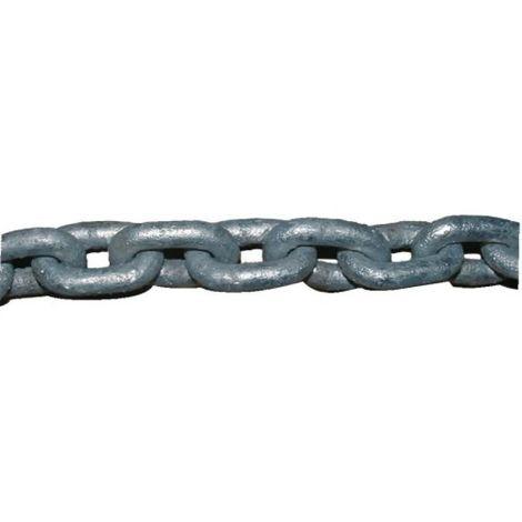 Chaîne-câble acier galvanisé à chaud, diamètre fil 6 mm, rouleau de 10 m
