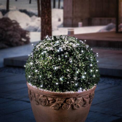 Chaîne lumineuse solaire premium 100 LED Décoration de Noël de jardin blanc froid esotec 102169