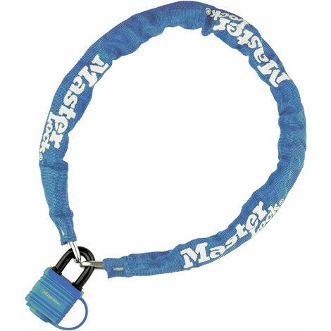 Chaine velo antivol en acier lamine Bleu Cadenas de securite longueur 90 cm
