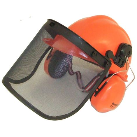 64b01c0edb6 Chainsaw Safety Helmet Hat With Large Metal Mesh Visor For Extra Protection