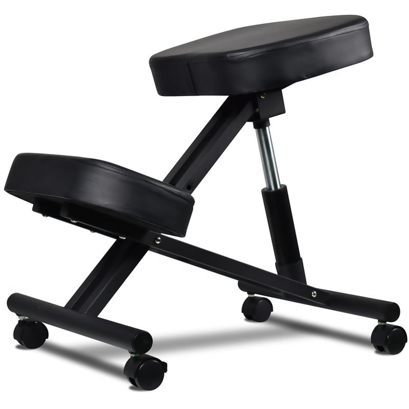 Image of Chair Height-adjustable Postural Orthopaedic Stool with Ultra-Comfort Cushions and Black Wheel Locking System