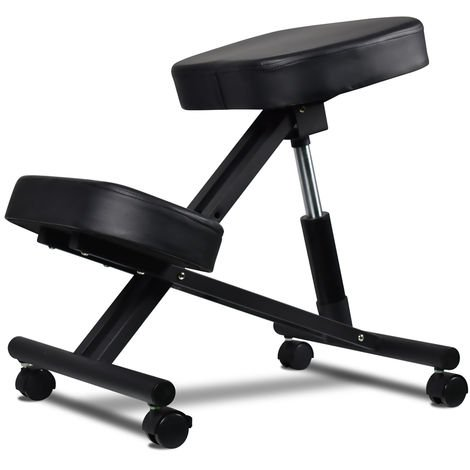 Chair Height-adjustable Postural Orthopaedic Stool with Ultra-Comfort Cushions and Black Wheel Locking System