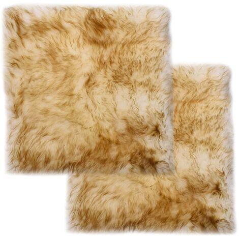 Chair Pads 2 pcs Brown Melange 40x40 cm Genuine Sheepskin