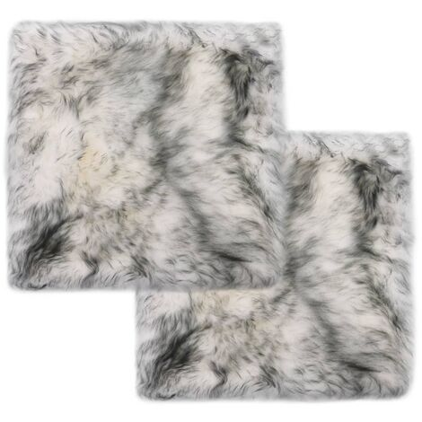 Chair Pads 2 pcs Dark Grey Melange 40x40 cm Genuine Sheepskin