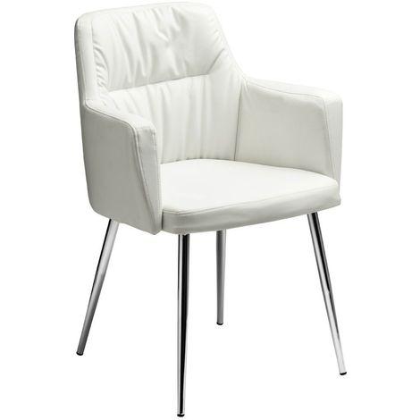 Chair,White Leather Effect,Chrome Legs
