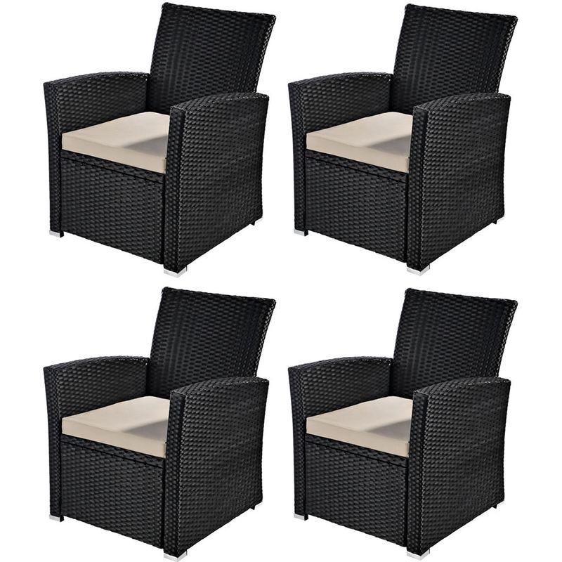 Chaise 4 poly-rotin terrasses jardin chaise en rotin jardin en rotin noir