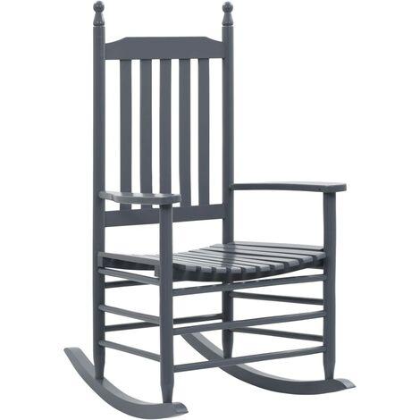 Chaise à bascule avec siège incurvé Gris Bois de peuplier