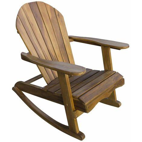 Chaise à Bascule Bois Dur Massif Imperméable Adirondack Jardin Patio Terrasse