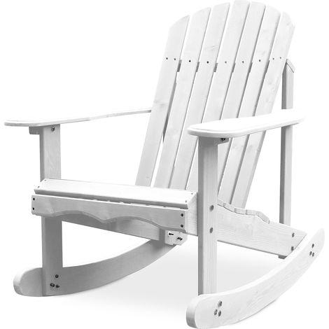 Chaise à bascule de jardin Adirondack Blanc