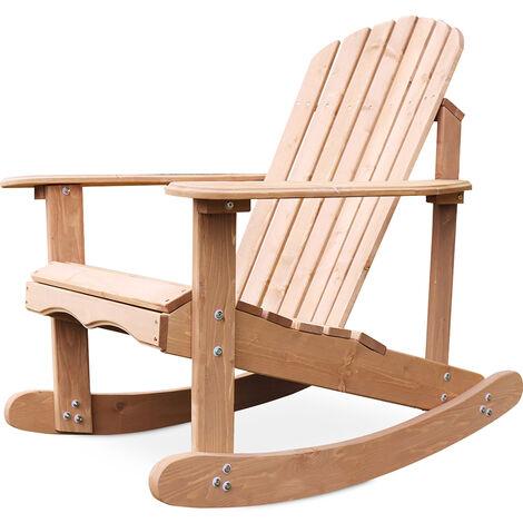 Chaise à bascule de jardin Adirondack Bois naturel