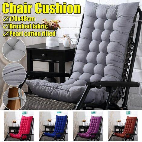 Chaise à bascule de jardin coussin épais rembourré doux extérieur pour chaise de plage siège de soleil (gris, 1x coussin de chaise)