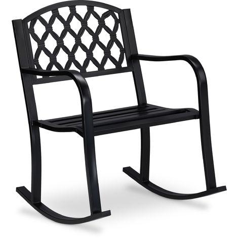 Chaise à bascule de Jardin, en fonte de fer, protection rouille , style antique, extérieur 85x60x74 cm
