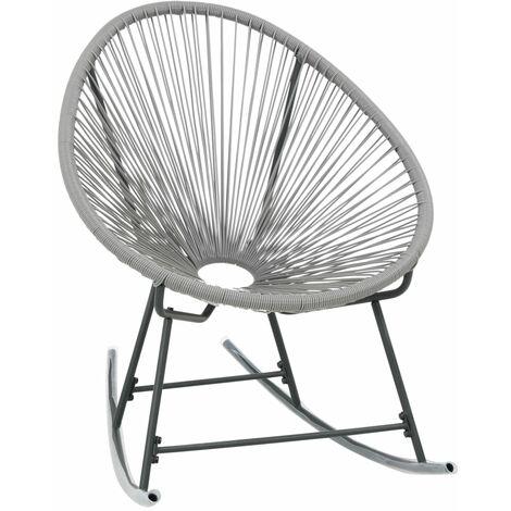 Chaise à bascule de jardin forme de lune Résine tressée Gris ...