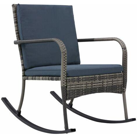 Chaise à bascule de jardin Résine tressée Anthracite