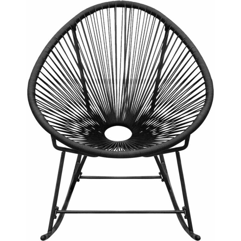 Chaise à bascule d'extérieur Noir Résine tressée