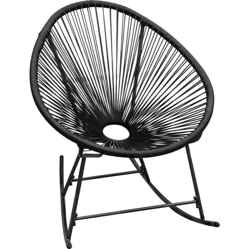 Betterlife - Chaise à bascule d'extérieur Noir Résine tressée8543-A