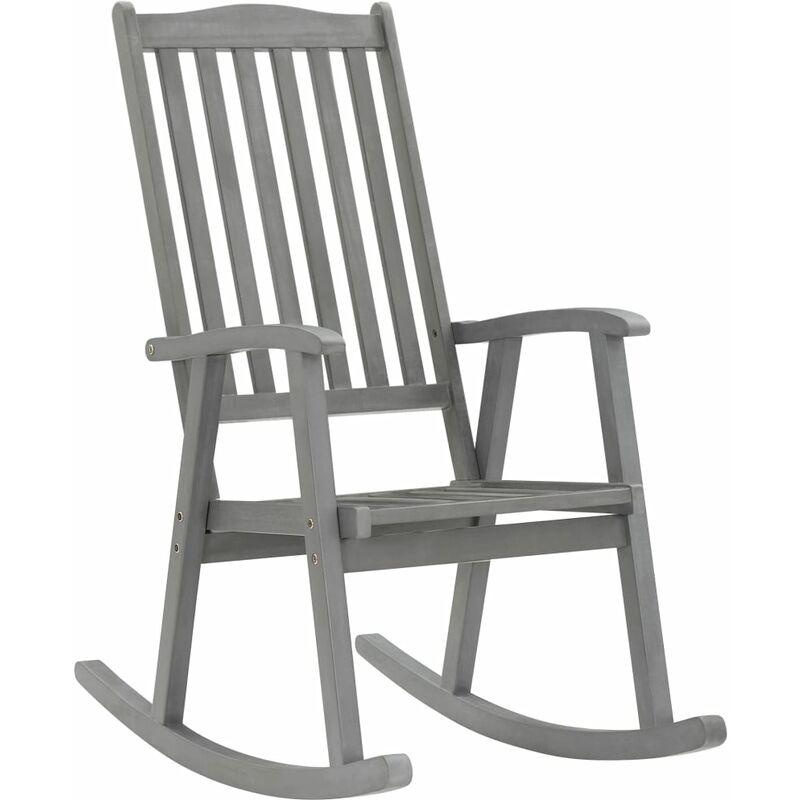 Chaise à bascule Gris Bois d'acacia massif