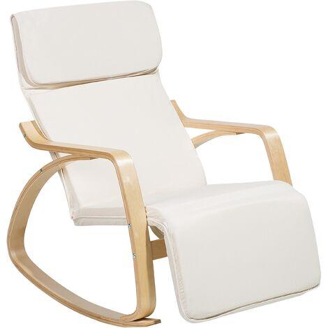Chaise à bascule moderne couleur ivoire en bois de bouleau