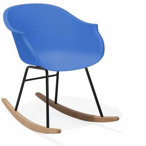 Chaise à bascule scandinave bleu cobalt
