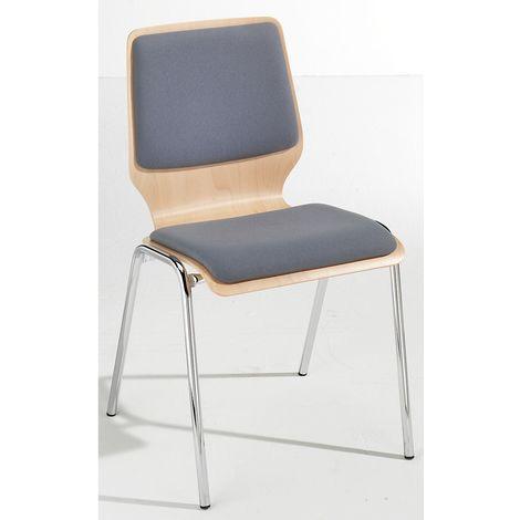 Chaise à coque en bois rembourrée - lot de 4, piétement chromé - rembourrage gris - Coloris assise et dossier: Hêtre naturel