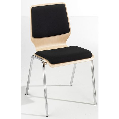 Chaise à coque en bois rembourrée - lot de 4, piétement chromé - rembourrage noir - Coloris assise et dossier: Hêtre naturel