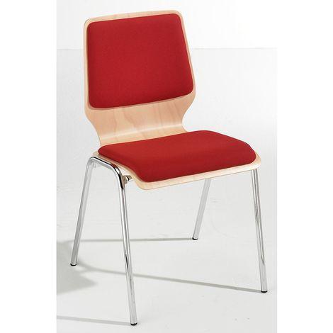 Chaise à coque en bois rembourrée - lot de 4, piétement chromé - rembourrage rouge - Coloris assise et dossier: Hêtre naturel