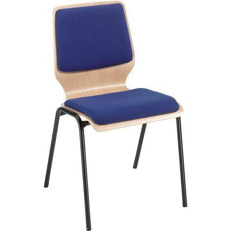 Chaise à coque en bois rembourrée - lot de 4, piétement peint - rembourrage bleu roi - Coloris assise et dossier: Hêtre naturel