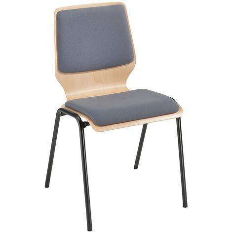 Chaise à coque en bois rembourrée - lot de 4, piétement peint - rembourrage gris - Coloris assise et dossier: Hêtre naturel