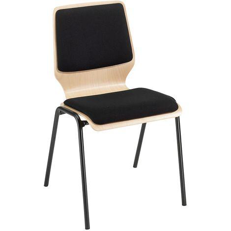 Chaise à coque en bois rembourrée - lot de 4, piétement peint - rembourrage noir - Coloris assise et dossier: Hêtre naturel