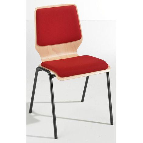 Chaise à coque en bois rembourrée - lot de 4, piétement peint - rembourrage rouge - Coloris assise et dossier: Hêtre naturel