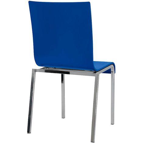 Chaise à coque en bois, tube carré, h x l x p 860 x 450 x 520 mm, lot de 4 coque bleue - Coloris piétement: chrome