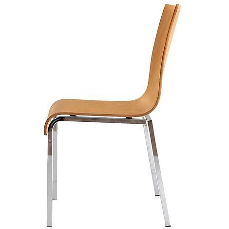 Chaise à coque en bois, tube carré, h x l x p 860 x 450 x 520 mm, lot de 4 coque hêtre naturel - Coloris piétement: chrome