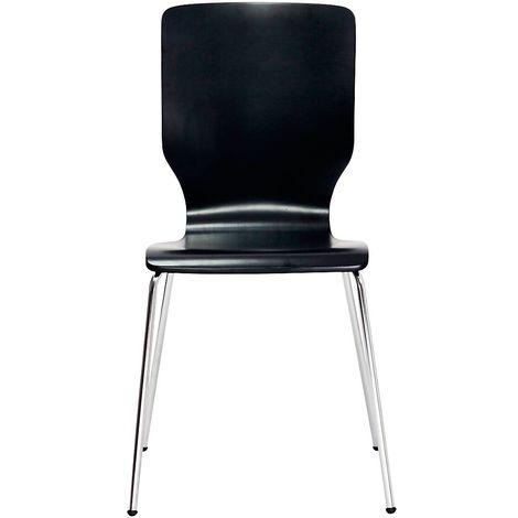 Chaise à coque en bois, tube rond, h x l x p 850 x 400 x 520 mm, lot de 4 coque anthracite - Coloris piétement: chrome