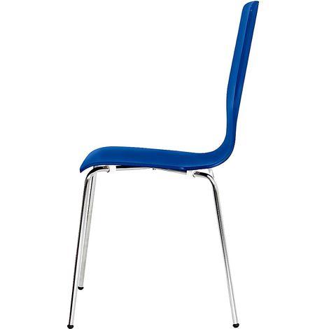 Chaise à coque en bois, tube rond, h x l x p 850 x 400 x 520 mm, lot de 4 coque bleue - Coloris piétement: chrome