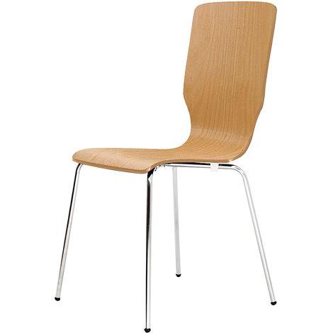 Chaise à coque en bois, tube rond, h x l x p 850 x 400 x 520 mm, lot de 4 coque hêtre naturel - Coloris piétement: chrome