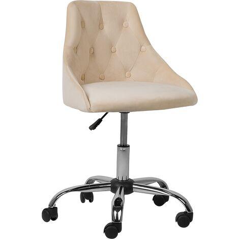 Chaise à roulettes en velours beige PARRISH