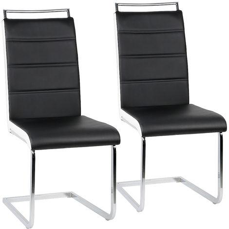 Chaise a SallSer de Manger,Lot de 2,Tabourte de cuisine,Noir/BLANC