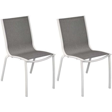 Chaise aluminium textilène Linea (Lot de 2) Blanc/Argent - Blanc/Argent