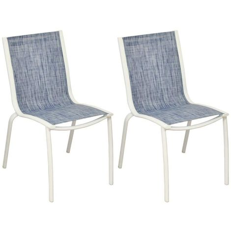 Chaise aluminium textilène Linea (Lot de 2) Jeans - Jeans