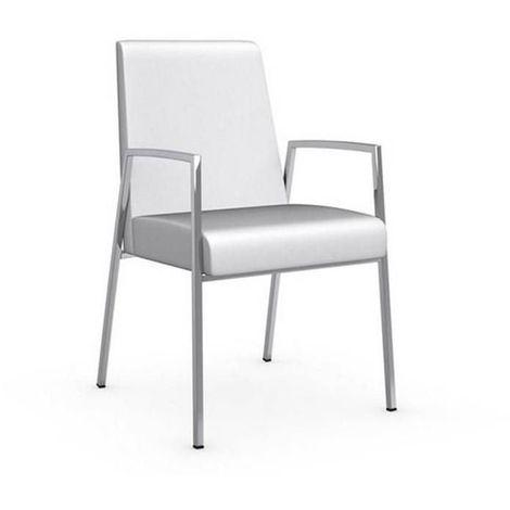 Chaise AMSTERDAM avec accoudoirs structure acier chromé assise cuir blanc
