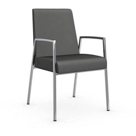 Chaise AMSTERDAM avec accoudoirs structure acier chromé assise cuir grège