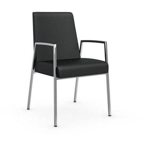 Chaise AMSTERDAM avec accoudoirs structure acier chromé assise cuir noir